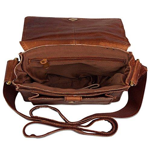 STILORD Mensajero de piel / Bolso bandolera / Messenger Bag / Bolso de piel mujeres hombres vintage Tablets hasta 9,7 pulgadas marrón Marrón