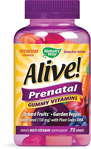 Nature's Way Alive!® Prenatal Premium Gummy Multivitamin with DHA, Fruit and Veggie Blend (150mg per serving), Full B Vitamin Complex, Gluten Free, Made with Pectin, 75 Gummies - 51qPh3pcTjL - Nature's Way Alive!® Prenatal Premium Gummy Multivitamin with DHA, Fruit and Veggie Blend (150mg per serving), Full B Vitamin Complex, Gluten Free, Made with Pectin, 75 Gummies