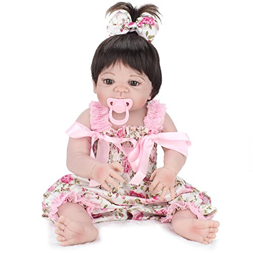 [Reborn Full Silicone Body Baby Doll Lifelike Newborn Girl 23-Inch Fan Moon] (Cabbage Head Costume)
