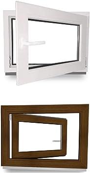 innen wei/ß//au/ßen nussbaum 800 x 500 mm BxH: 80 x 50 cm Fenster Kunststoff DIN Links 2 fach Verglasung Kellerfenster 60 mm Profil