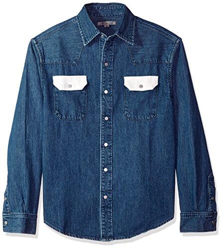 Calvin Klein Jeans Men's Blue Western Denim Shirt Contrast Pockets, Dark Blue/White, S by Calvin Klein