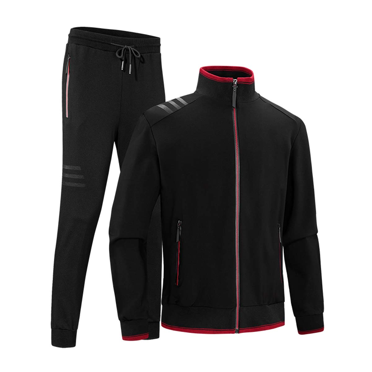INVACHI Men's Casual 2 Pieces Contrast Cord Full Zip Sports Sets Jacket & Pants Active Fitness Tracksuit Set Black by INVACHI