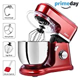 : Betitay Stand Mixer, 6-Speed 4.5 QT 304 Stainless Steel Bowl Baking Mixer, Dough Kneading Machine with Splash Guard, Mixing Beater, Whisk, Dough Hook and Silicone Brush, 500W/1400W Max. (Red/Steel)