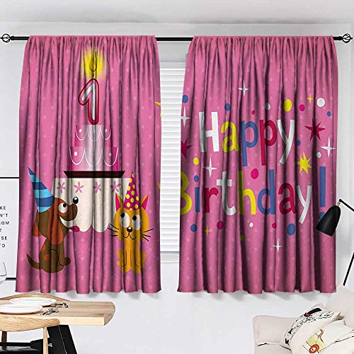 Jinguizi 1st Birthday Curtain Doorway Animal Party with Sweet Cat and Dog on Pink Color Polka Dot Abstract Backdrop Window Darkening Curtains Multicolor W55 x L39 by Jinguizi (Image #1)