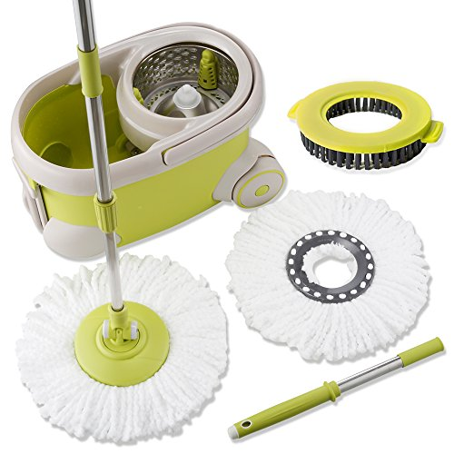 Bed Head Wash System (Topmop Deluxe Stainless Steel Rolling Spin Mop and Bucket -2017 Upgraded Model - Includes 2 Microfiber Heads and 1 Scrub Brush, Extended Length Handle -)