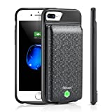 iPhone 8 Plus/7 Plus/6s Plus/6 Plus Charging Case, Shineam 5000mAh Detachable Battery Case Supports Wired Headphones Sturdy Port Slim Rechargeable Case (5.5 inch, Black)