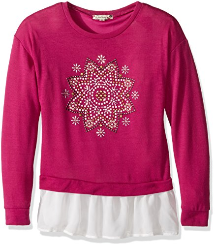Twofer Girls Top (Speechless Big Girls' Hachi Button Back Hi Lo Hem Top, Berry, Medium)