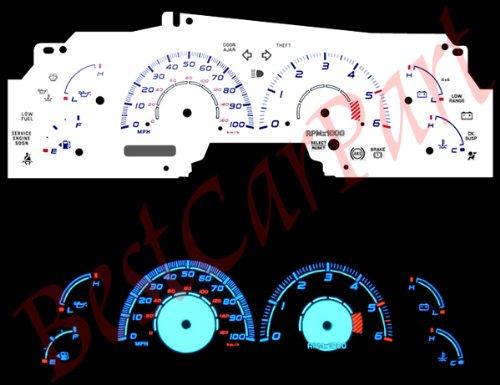 99-02 Ford F-150 w/ Tach WHITE GLOW (99 Reverse Speed Glow Gauges)
