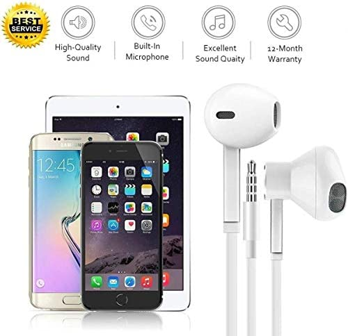 【2 Pack】 Headphones Ear Phones Ear Buds/Earphones, Noise Islating, High Definition, Fits All 3.5mm Interface Stereo for Samsung, iPhone,iPad, iPod and Mp3 Players 51qPhidQv7L