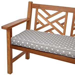 Mozaic Sabrina Corded Indoor/Outdoor Bench Cushion, 60-Inch, Grey Dots