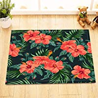LB Watercolor Hawaiian Hibiscus Flower Palm Leaf Print Small Bedroom Rugs, Non Slip Backing Soft Microfiber, Tropical Floral Plant Decorative Rug 15 x 23 Inches