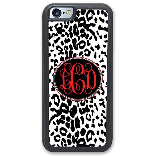 Personalized Leopard - iPhone 6 6S Plus Case, Simply Customized Phone Case Compatible iPhone 6 6S Plus [5.5 inch] Black White Red Leopard Animal Print Monogram Monogrammed Personalized I6P