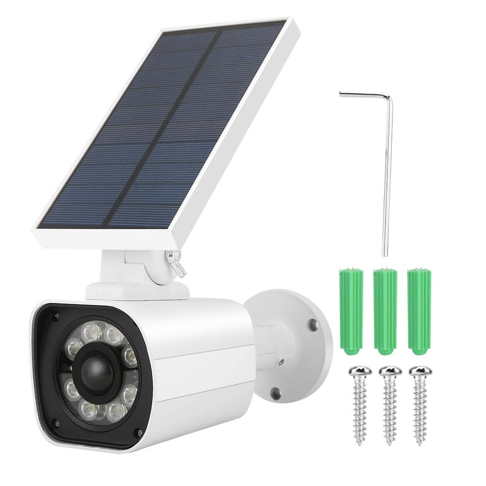 ASHATA Waterproof Outdoor Indoor Fake Dummy Imitation CCTV Security Camera Led Light with Solar Panel Red Light Warning Function for Gargen