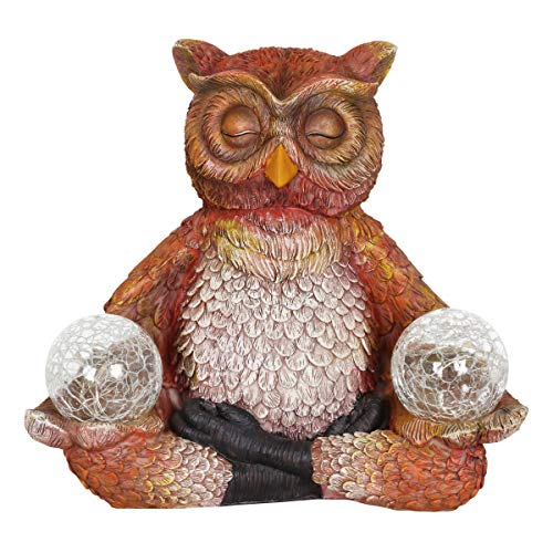 (Exhart Solar Yoga Owl Holding 2 Glass Balls Garden Statue - Hand-Painted Resin Statue of an Owl in Cross-Legged Meditation Pose w/Solar LED Lights Glass Orbs, 11