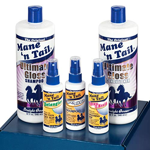 Mane 'n Tail Ultimate Gloss Winning Finish Grooming Kit5pc Includes Full Size 32 oz Ultimate Gloss Shampoo and Conditioner Made with Coconut Oil .Detangler Spray 4oz Spray 'n White 4oz Spray'n Braid