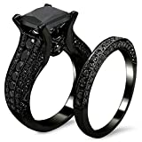 Gange Black Gold Sapphire Princess Cut CZ Wedding Engagement Band Bridal Rings Jewelry Set (7)