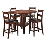Brassex Inc 8953 Santana Pub Table Set, Including Table and 4 Chairs, 8953, Rich Walnut Colour with Espresso Faux Leather Seating, 40 X 40 X 36