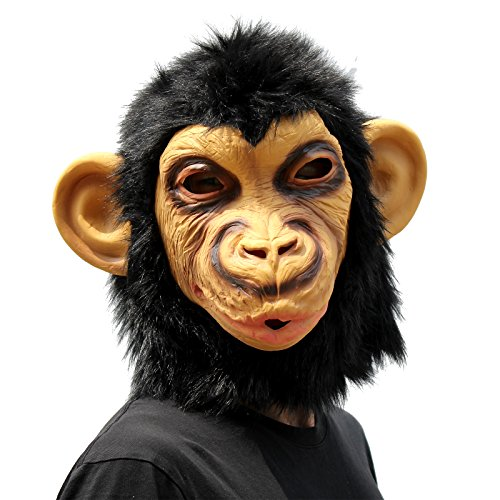 CreepyParty Novelty Halloween Costume Party Animal Head Mask - Chimp (Most Scary Halloween Costumes)