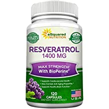 Resveratrol 1400mg with BioPerine Supplement - Max Strength Trans-Resveratrol Formula for Anti Aging & Heart Health - 120 Vegan Capsules w/ Red Wine & Grape Seed Extract, Green Tea Leaf & Acai Berry