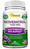Cheap Resveratrol 1400mg with BioPerine Supplement – Max Strength Trans-Resveratrol Formula for Anti Aging & Heart Health – 120 Vegan Capsules w/Red Wine & Grape Seed Extract, Green Tea Leaf & Acai Berry
