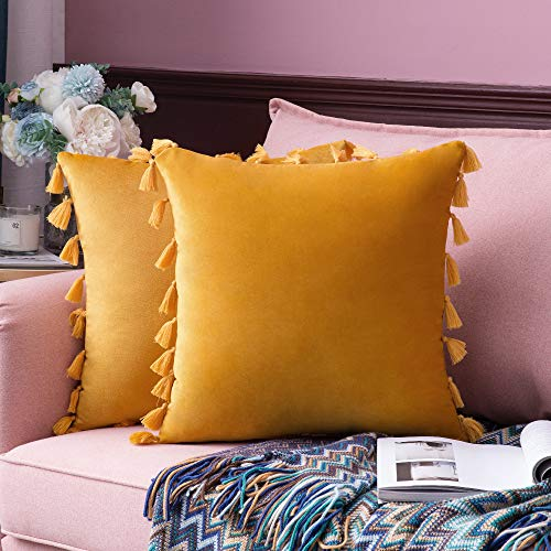 MIULEE Pack of 2 Velvet Soft Solid Decorative Throw Pillow Cover with Tassels Fringe Boho Accent Cushion Case for Couch Sofa Bed 18 x 18 Inch Gold (Covers Velvet Pillow Throw)