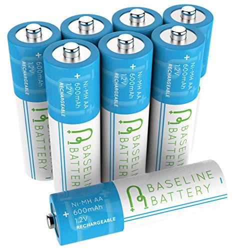 8 AA 600mAh NIMH Rechargeable Batteries Baseline Battery NI-MH for Solar Path Garden Lights, Appliances, Remotes