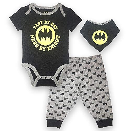 Batman DC Comics Baby Boys Newborn Infants 3 Piece Set Bodysuit Pants and Bib Black 3-6 Months ()
