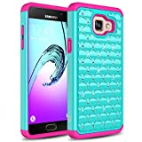 Galaxy A5 (2016 Release) Case, TownShop Pink/ Turquoise Spot Diamond Studded Bling Crystal Rhinestone Dual Layer Hybrid Cover Silicone Rubber Skin Hard Case For Samsung Galaxy A5/ A510F (2016)