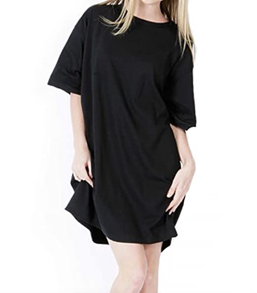 a0cd5cc75e 90210 Wholesale Women's Sleep Shirts Sleepwear Beachwear Night Gown Long T-Shirt  Cotton Oversize One Size (Black) at Amazon Women's Clothing store: