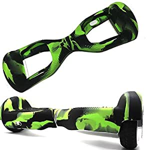 FBSport Rubber Guard Protection for Self Balancing Scooter Board , 100% Silicone for Guard for Self Balancing Segway Scooter Board. Best Safe and Cheap Way to Prevent Damage to Skateboard Black/Green
