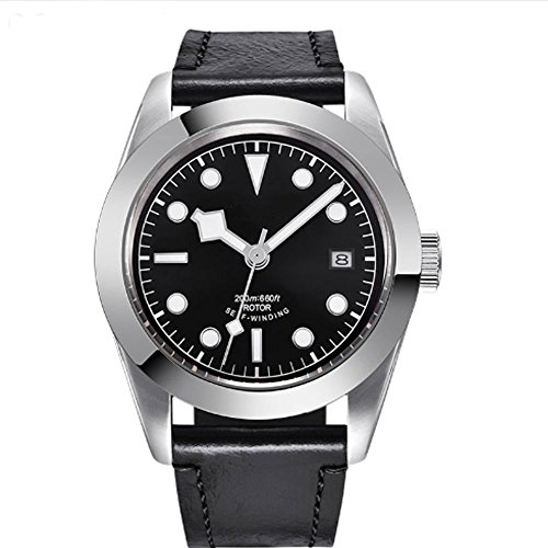 41mm Black Sterile Dial Stainless Case Luminous Pointer Sapphire Miyota Automatic Movement Men's Watch (Sterile Stainless Steel)