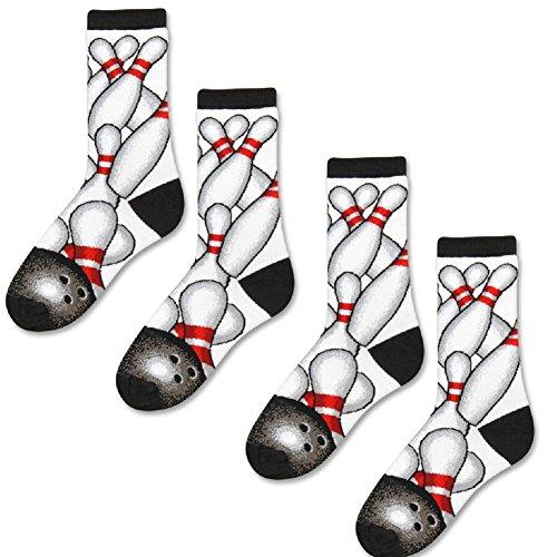 (Set/2) Bowling Ball Pin Themed Socks White, Black & Red Lucky Strike Design