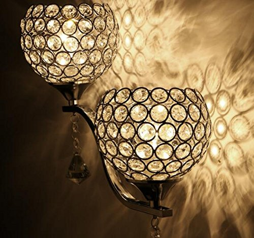 Best to Buy Modern Luxury Crystal Wall Light Chrome Finish Wall Sconce Lighting Fixture(E26 bulb not included) (2 heads) by BTB® (Image #1)