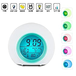 Alarm Clock LED Wake Up Music Night Light Premium Digital Display Model with Temperature & Nature Sound - 7 Colors Changing for Adults, Kids, Toddlers, Teens(white)