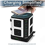 USB Surge Protector with Wireless Charger BESTEK 8-Outlet Power Strip and 40W 6-Port USB Charging Dock Station,1500 Joules,ETL Listed