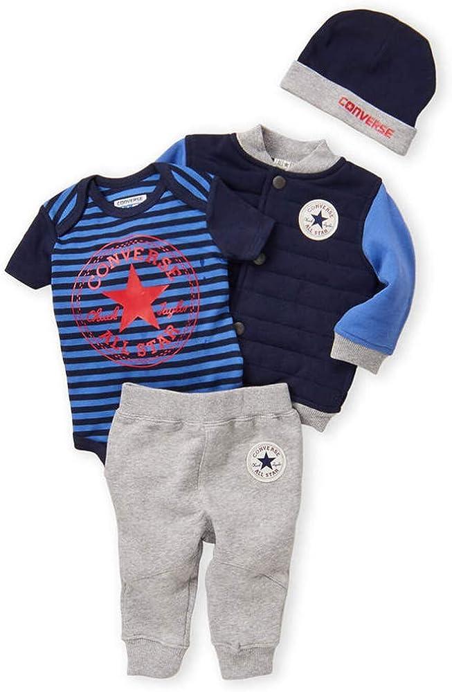 Converse Newborn Boys 4-Piece Jacket, Bodysuit, Jogger & Hat Set ...