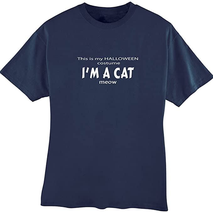 a56685d8 Amazon.com: This is My Halloween Costume I'm A Cat Adult Tee Shirt ...