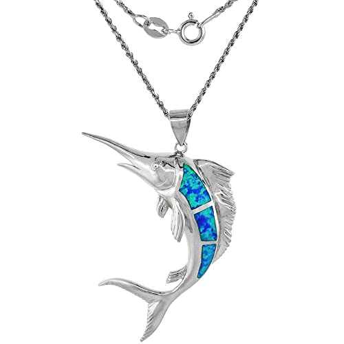 Sterling Silver Synthetic Opal Marlin Fish Necklace in Blue Pink CZ Accent 1 7 8 inch Rope Chain