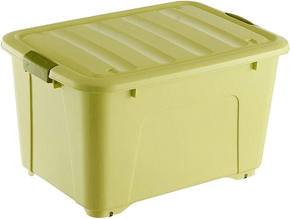 HUIQI Caja almacenaje Caja De Plástico Grande con 6 Rueda De Almacenamiento del Compartimiento 350 litros 54,5 * 67 * 95 Cm (Azul) Cajas almacenaje plastico (Color : Green): Amazon.es: Hogar