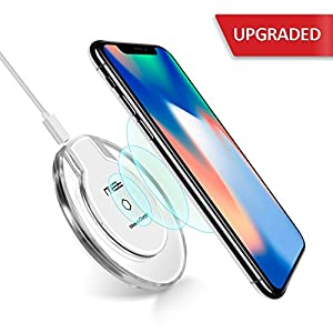 Wireless Charger, NXET QI Wireless Charging Pad for Apple iPhone X/iPhone 8/8 Plus, Samsung Galaxy Note 8/Note 5, S6 S7 Edge S8 S8+, Google Nexus 4/5/6 and All Qi-Enabled Devices (Clear)