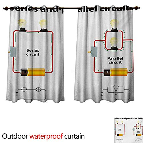 WilliamsDecor Educational Home Patio Outdoor Curtain Series and Parallel Circuits Voltage Electric Science Equipment Print W96 x L72(245cm x 183cm)