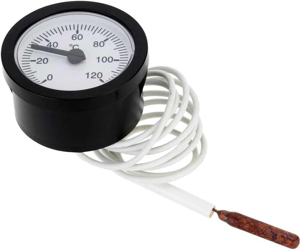 0-120/°C Temperature Range with 55mm 2.5 inch Dial Shiwaki 0-120 Degrees Celsius Thermometer Capillary Temp Gauge Meter