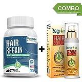 Vokin Biotech Regain- All Natural Hair Loss Supplement with Regrow Hair Serum(50ml) For Advanced Healthy Hair Growth(Men & Women) - 30 Veg Capsules