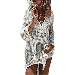 NFASHIONSO Women's Fashion Swimwear Crochet Tunic Cover up/Beach Dres,Beige2