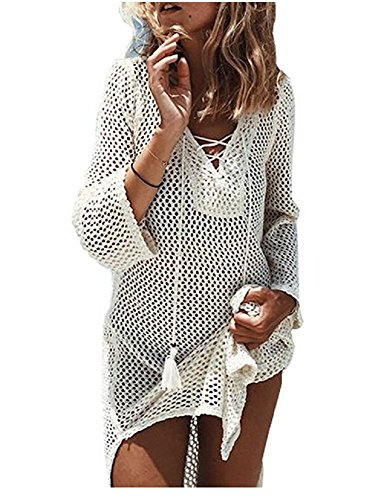 (NFASHIONSO Women's Fashion Swimwear Crochet Tunic Cover Up/Beach Dres,Beige2)