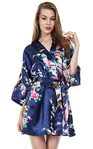 Missfashion Women's Kimono Robes Peacock and Blossoms Satin Nightwear Short Style (XXL,Navy Blue)