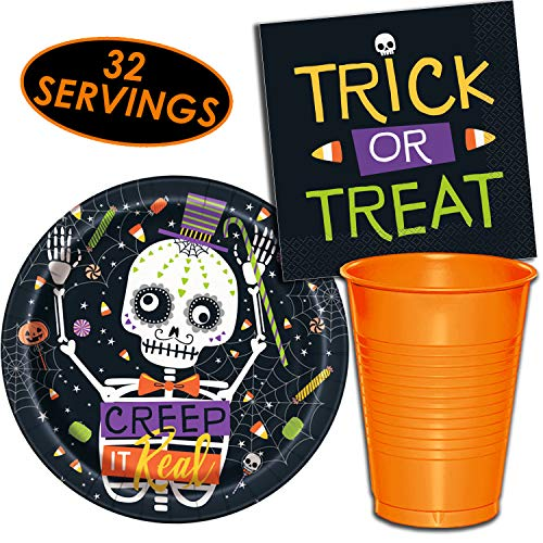 Halloween Haunted Party Supplies - 32 Servings - Dinner Plates, Plastic Cups (12 oz), Luncheon Napkins. Decorated Tableware Set with Skulls, Candy Corn Spider Webs, and More