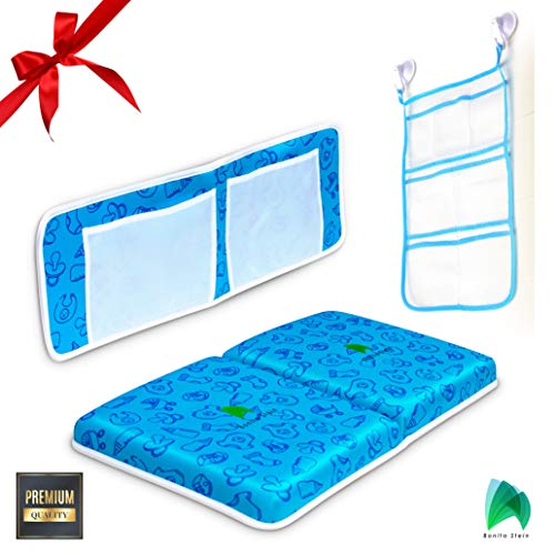 Bath Kneeler Pad - Soft Non-Slip Neoprene Cushioned Kneeling Mat to Protect Knees & Provide Comfort at Baby Bath Time - with Toy Net & Storage Bag