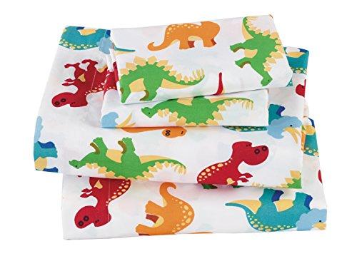 Mk Collection 4pc Sheet Set Full Size Dinosaurs Blue Green Orange Red White # Dino White New (Full) (Dinosaur Bedding Full Size)