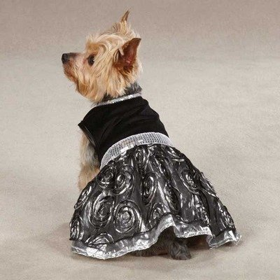 East Side Collection Polyester Glam Dog Dress, Small/Medium, 14-Inch, Silver, My Pet Supplies
